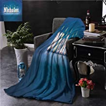 Nicholas Outdoor Throw Blanket Double-Sided Printing Boys Name Party Candle Bedroom Dorm Sofa Baby Cot Beach W60 xL80