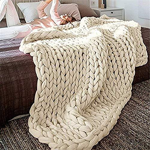 Gestrickte Decke, Grobe Strickdecke Wolle Garn Arm Stricken werfen Super große klobige Stricken Decke Haustier Bett Stuhl Sofa Yoga Matte Teppich (Beige,120 * 180cm)