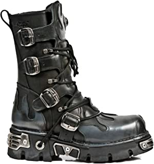New Rock Newrock 591-S2 Silver Flame Metal Black Leather Heavy Punk Gothic Boots with Laces
