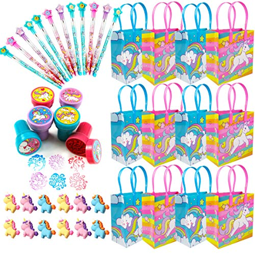 Tiny Mills 60 Pack Unicorn Rainbow Birthday Party Favors Supplies, Pinata Fillers for Girls Birthday Party, Goodie Bag Stuffers, Rewards, Game Prizes Incl 12 Unicorn Goodie Candy Bags with Handles