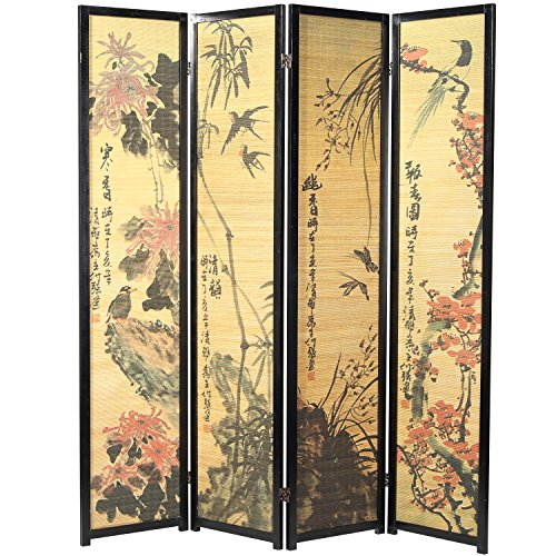 Decorative Chinese Calligraphy Design Wood & Bamboo Hinged 4 Panel Screen / Freestanding Room Divider, Black Frame