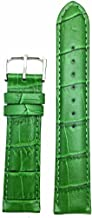 20mm Green Genuine Leather Watch Band | Square Alligator Crocodile Grain, Lightly Padded Replacement Wrist Strap that brings New Life to Any Watch (Mens Standard Length)