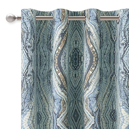 KGORGE Blackout Curtains for Bedroom with Tree Stripe Pattern for Home Decor, Thermal Insulated Print Grommet Curtain Panels, 52 by 84 inches Length, Blue, 2 Pieces