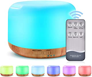 ZOESON Essential Oil Diffuser Humidifier-7 Color Changing LED Lamps, Adjustable Mist Mode,Auto Off Aroma Diffuser for Bedr...