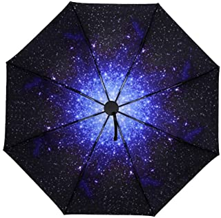 Household Umbrellas Metal Frame Folding Umbrellas Starry Black Umbrellas Rain and Rain Umbrellas Sunscreen UV Umbrellas LJJOZ (Color : B)