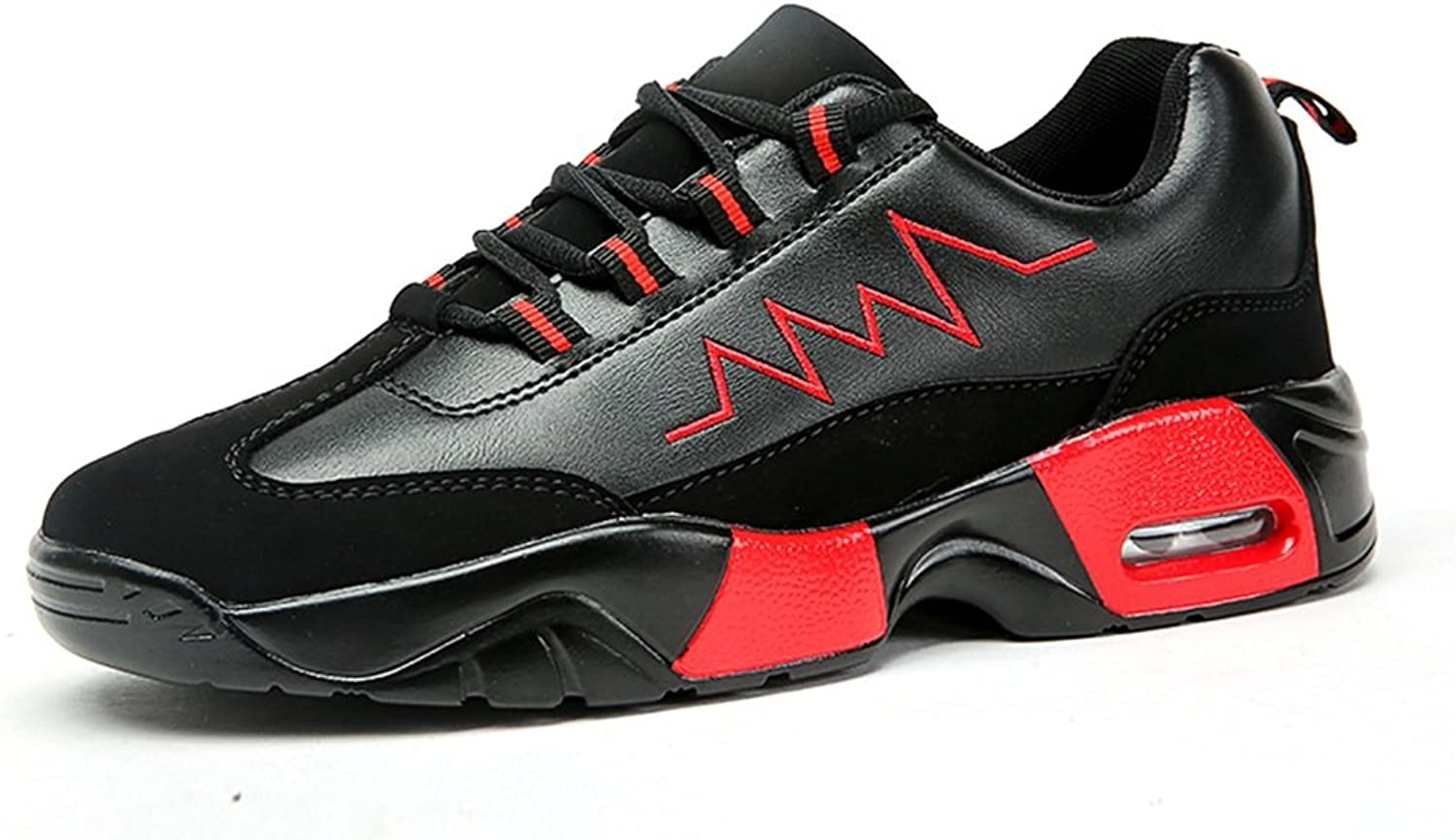 Lace-up Sneakers Women and Men's Unisex fashion casual comfort breathable Outdoor Flat Heel Sneaker Lace up Athletic Casual shoes Up to Size 47 Casual Sneakers (color   Black Red, Size   10 UK)