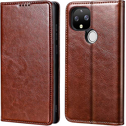 MInCYB Google Pixel 4a 5G Case, Google Pixel 4a 5G Wallet Case, Genuine Leather Folio Cover for Google Pixel 4a 5G - Brown