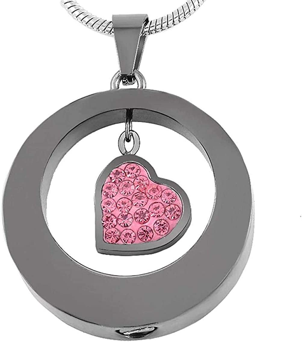 Ashes Memorial Cremation Necklaces for Ashes 316L Stainless Steel Circle of Life Round and Heart Cremation Jewelry Necklace for Ashes Ashes Urns Cremation Keepsake Memorial