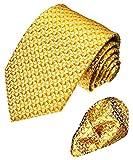 LORENZO CANA - Marken 2er Set aus 100% Seide - Krawatte und Einstecktuch - Goldgelb Gelb Gold Kleingemustert - 8406001