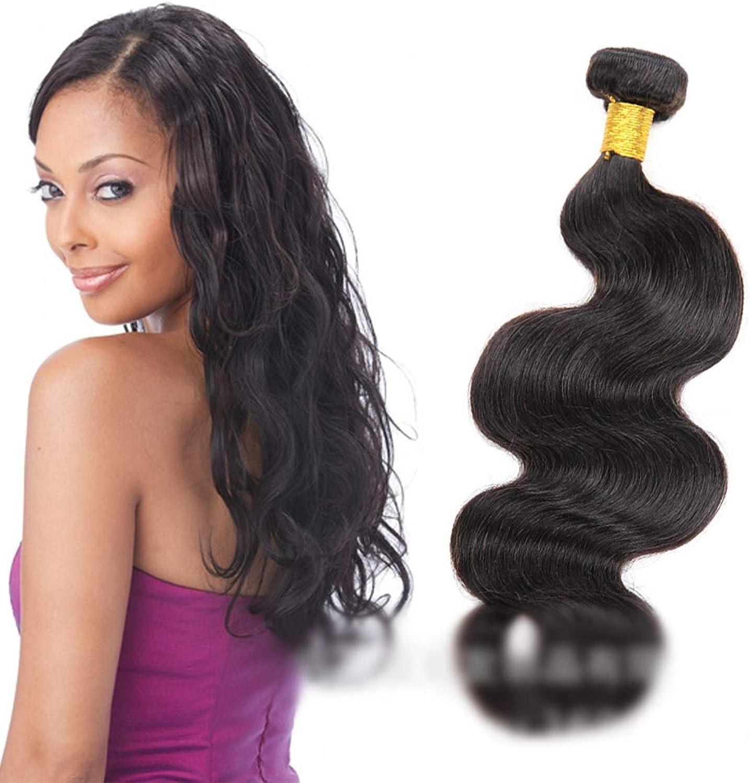 (1 Bundle, 100g) Human Hair Weave Bundles Natural Hair Extensions Weft - Body Wave - Natural Black color DIY Fun (color   Black, Size   10 inch)