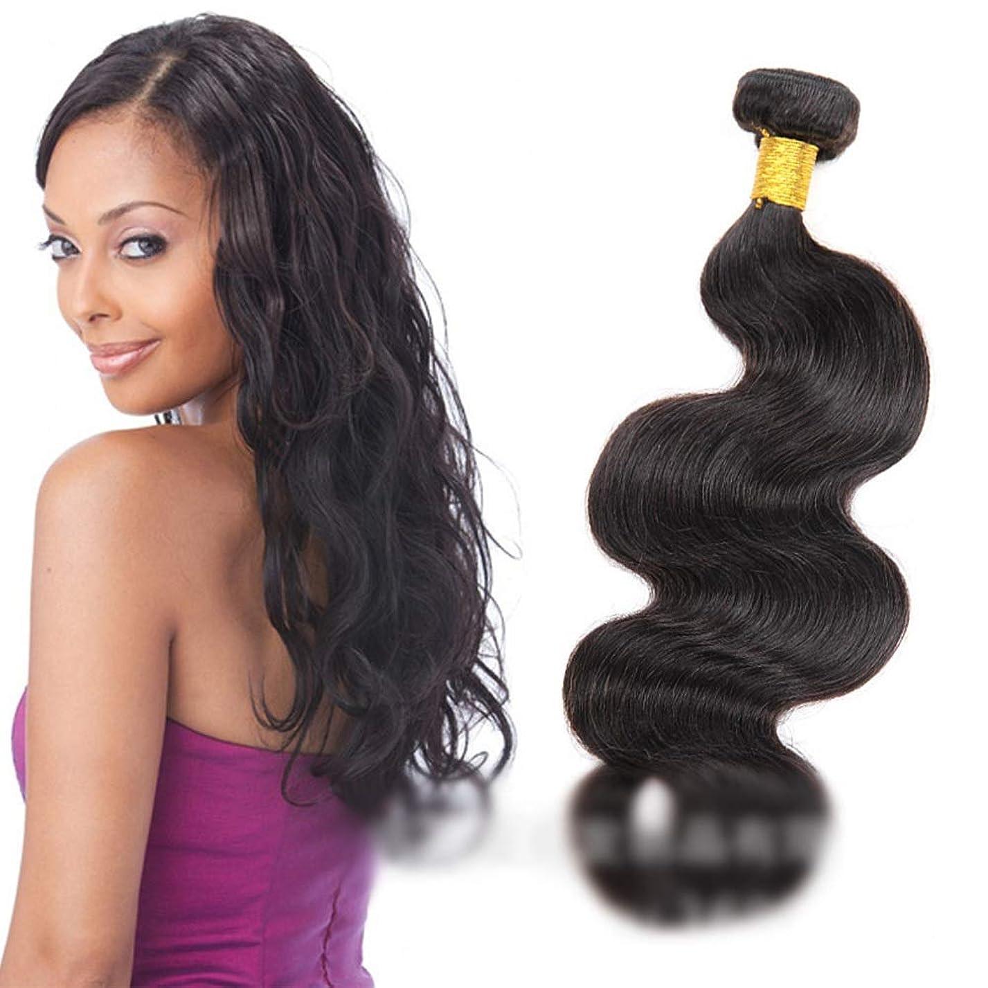 成長する帰するコロニアルHOHYLLYA 人間の髪織りバンドルナチュラルヘアエクステンション横糸 - ボディウェーブ - ナチュラルブラックカラー(1バンドル、100g)ロングカーリーウィッグ (色 : 黒, サイズ : 30 inch)