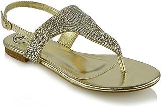 d24f98637c17 ESSEX GLAM Womens Slingback Sandals Thong Rhinestone Metallic Sparkly  Sandals