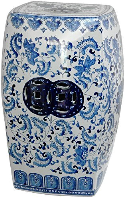 Oriental Furniture 18  Square Floral bluee & White Porcelain Garden Stool