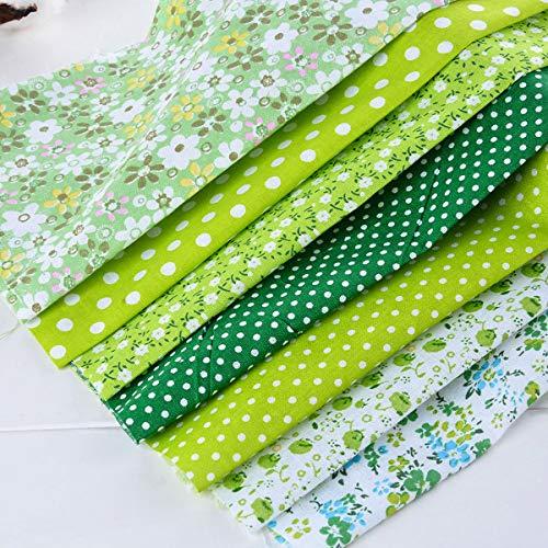 AnMeelin Baumwollstoff Meterware, 7 Stück 49x49cm Patchwork Stoffe zum Nähen für Tischdecken, Brieftaschen, Geschirr und Wickeltaschen(Grün)