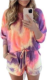 Women Tie Dye Long Sleeve 2 Piece Shorts Set Outfits Sports Sweatsuits