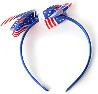 Fabric Ribbon Bow Headband for Girls Women 4th of July Independence Day decorations, Blue
