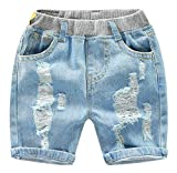 QZH.DUAO Boys' Denim Shorts, Ripped Hole Frayed Pull-On Denim Shorts for Toddler & Little Boys, Short 6# Denim, 6T = Tag 130