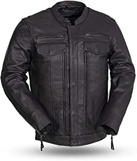 First Mfg Co Men's Leather Motorcycle Jacket (Black, X-Large)