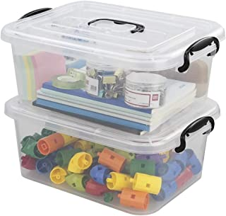 Idomy 8 L Plastic Storage Latch Box, Clear Containers with Lids, 2-Pack