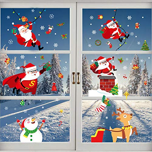 ZHENYI Christmas Window Clings Decorations - 157 PCS Xmas Snowflake Window Sticker - Santa Claus Reindeer Snowman Window Decals for Christmas Party (S)
