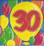 Tovaglioli 30 anni con palloncini - 20 pezzi