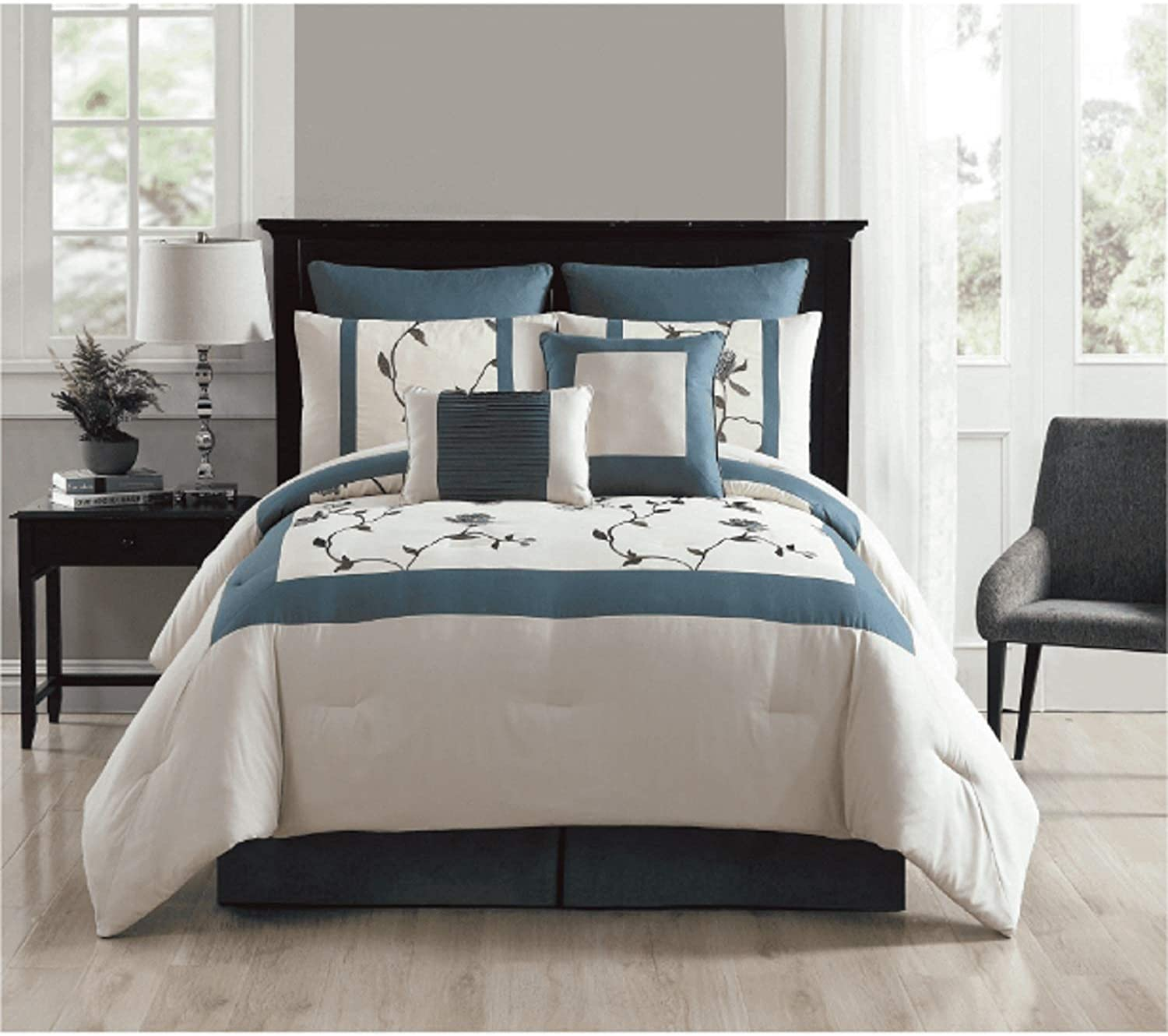 VCNY 8 Piece Trousdale Embroidered Comforter Set, Queen,
