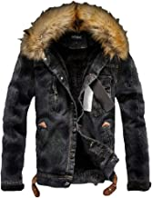 Lavnis Men's Denim Fleece Jacket Casual Faux Fur Collar Sherpa Coat Jeans Trucker Jacket