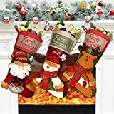 Dreampark Christmas Stocking, 18' Big Classic Xmas Stockings 3 Pack Santa Snowman Reindeer Character Stocking Christmas Decorations