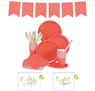 Andaz Press Complete 70-Piece Tableware Kit for 8 Guests, Coral, Includes Plates, Cups, Napkins, Spoons, Forks, Straws, Party Signs, Hanging Pennant Banner Decorations, 1-Set, Wedding Bridal Shower