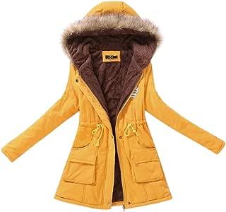 MeterMall Women Long Warm Fleece Coat with Hood Fluffy Collar Tight Waist Cotton Jackets