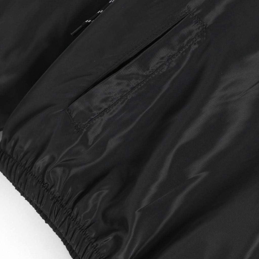 Mantel mit Kragen Damen Windjacke Kapuzenpullover Hoodies Reißverschluss Jacke Langarm Patchwork Leichte Sweatshirt Sportshirt Herbst Taschen Sportshirt,ABsoar B7- Schwarz