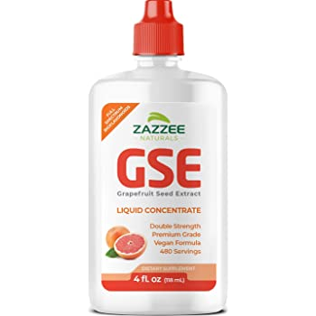 Zazzee Grapefruit Seed Extract (GSE) 4 Ounces, 480 Servings, Double Strength, 100 mg per Serving, Vegan, Liquid Concentrate, Non-GMO and All-Natural
