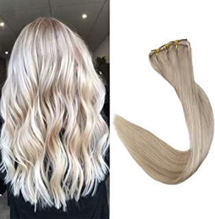 Full Shine Clip In Hair Extensions 16 Inch 9 Pcs Remy Brazilian Clip In Hair Color 18 Ash Blonde and 613 Blonde Highlights Full Head Set Clip In Human Hair Double Weft Extensions 100 Gram