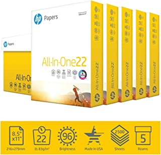 HP Printer Paper 8.5x11 AllInOne 22 lb 5 Ream Case 2500 Sheets 96 Bright Made in USA FSC Certified Copy Paper HP Compatibl...