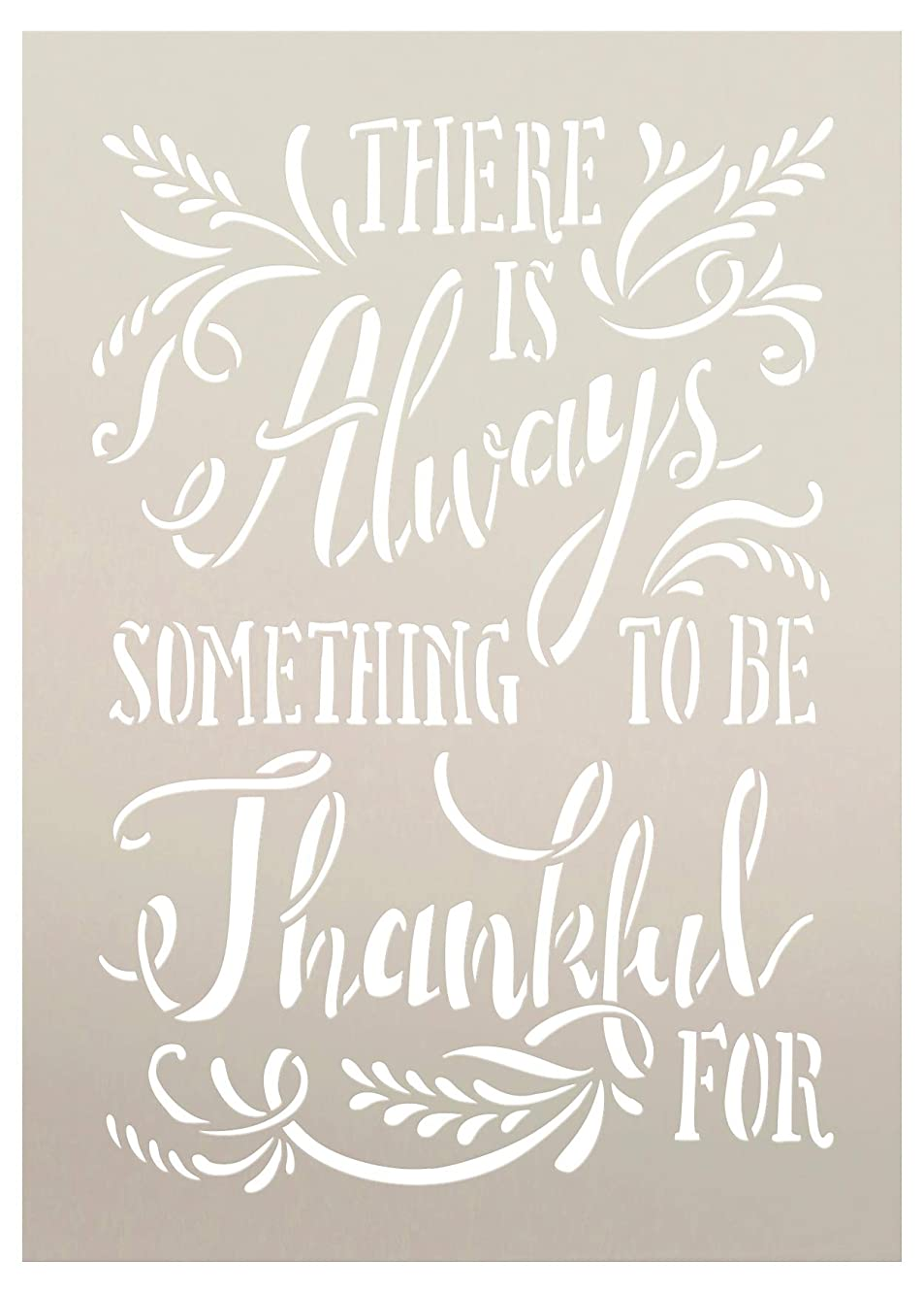 There is Always Something to Be Thankful for with Wheat Stencil by StudioR12 | Wood Sign | Word Art Reusable | Family Dining | Painting Chalk Mixed Media Multi-Media | DIY Home - Choose (10