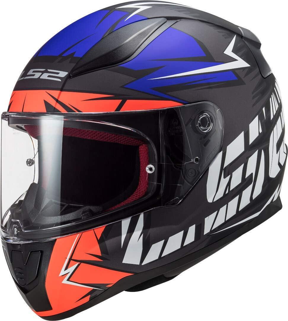 LS2 NC Casco para Motocicleta, Hombre, Negro/Azul/Naranja, Medium