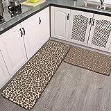 Juego de 2 alfombras de cocina Tawny Brown Leopard Print Spots Animal Print Alfombras de cocina antideslizantes y alfombras de franela suave antideslizante alfombra alfombra lavable duradera