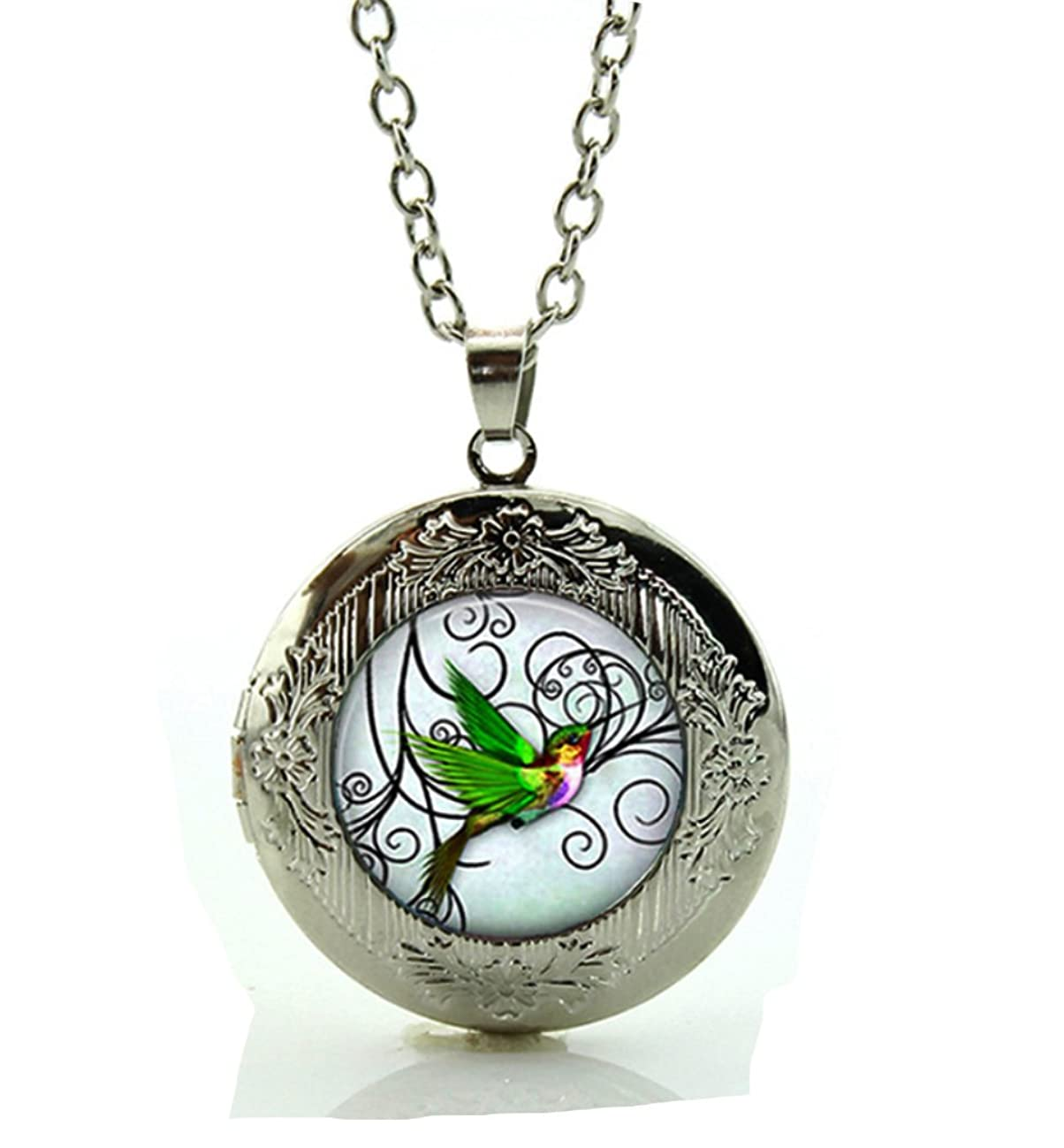 DianaL Boutique Silver Tone Hummingbird Locket Bird Pendant Necklace with a Gift Box