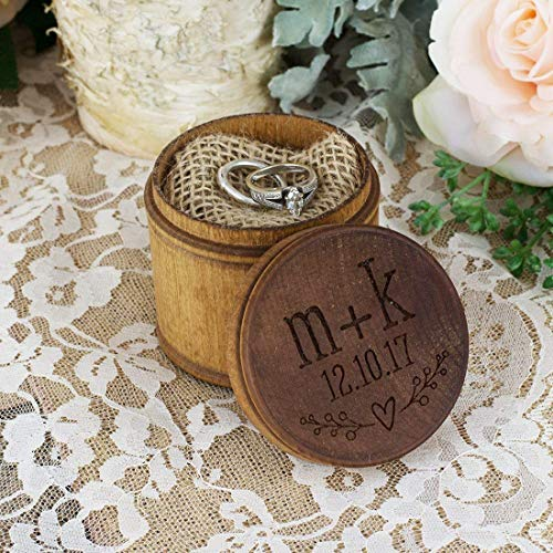 Personalized Engraved Ring Bearer Wood Pillow Box - Heart Initials and Date