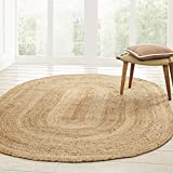 Superior Hand Woven Natural Fiber Reversible High Traffic Resistant Braided Jute Area Rug, 8' x 10' Oval