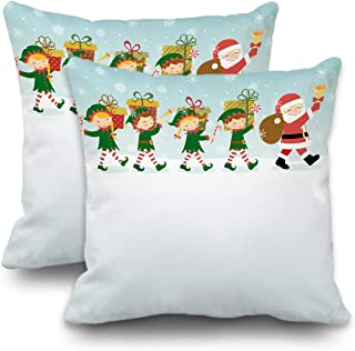 Batmerry Christmas Pillow Covers 18x18 inch Set of 2,Personalized Kids Elf Christmas Holiday Double Sided Throw Pillow Covers Sofa Cushion Cover