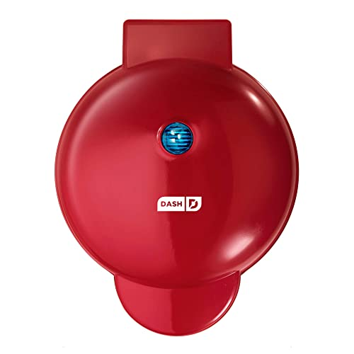 """Dash DMG8100RD 8"""" Express Electric Round Griddle for Pancakes, Cookies, Burgers, Quesadillas, Eggs & other on the go Breakfast, Lunch & Snacks, with Indicator Light + Included Recipe Book, Red"""