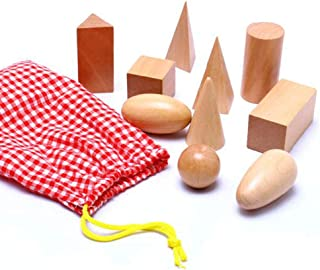 3D Shapes Guess Game - Solid Figures Geometry Miniature Set in Mystery Bag - Wooden Montessori Toys - Pack of 10pcs - Ages 3 and Up