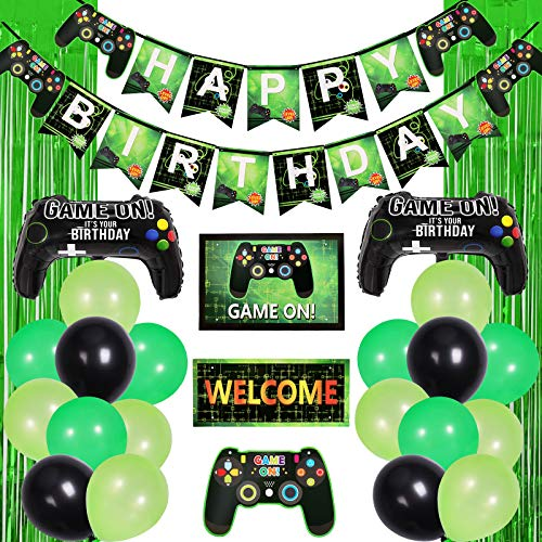Garma 76 Pieces Video Game Party Supplies, Birthday Decorations for Boys Including Banner Hanging Sign Green Foil Fringe Curtains Black Green Balloons Gamepad Balloons for Birthday Party