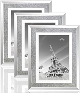meetart Sparkle Crystal Silver Glitter Mirror Glass Photo Frame for Photo Size 3.5x5 Pack of 3 Piece