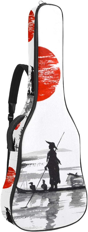Mochila japonesa tradicional para pintura de sol con funda gruesa acolchada para guitarra acústica y bajo eléctrico