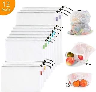 Eono by Amazon - Bolsas Compra Reutilizables Ecológicas Bolsa de Malla para Almacenamiento Fruta Verduras Juguetes Lavable y Transpirable, 12 Set (3L+6M+3S)