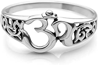 Chuvora 925 Sterling Silver Aum Om Ohm Sanskrit Symbol Filigree Design Meditation Yoga Band Ring