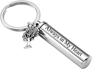 Free Engraving Custom Stainless Steel Tree of Life & Cylinder Locket Cremation Urn Keychain Keepsake Ashes Pendant Memorial Jewelry