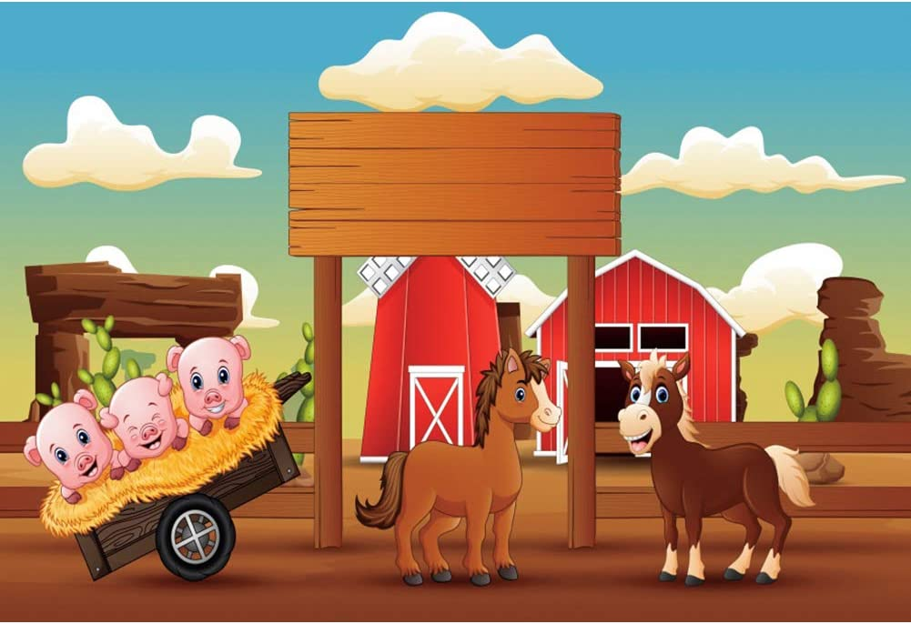 Haoyiyi 7x5ft Cowboy Cow Boy Little Cowboys Cowgirl Backdrop Cartoon Red Wooden Farm Animals Party Red House Background for Photography Birthday Party Decorations Banner Photo Studio Props